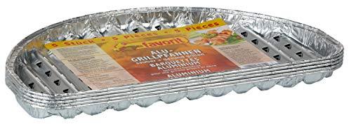 Favorit 1815 Grillplaat, halfrond, set van 5 – aluminium pan, diameter 30 cm, voor BBQ of grill