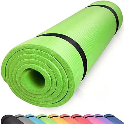 diMio Sport-Tec - Esterilla de yoga (185 x 60 x 1 cm, 185 x 60 x 1,5 cm, 185 x 90 x 1,5 cm, 200 x 100 x 2 cm, sin ftalatos, certificado SGS, color verde, 200 x 100 x 2 cm)