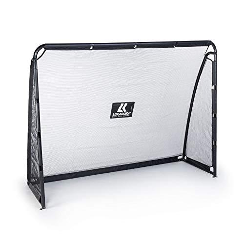 Lukadora Premium Fußballtor für den Garten, inkl. Torwand mit 4 Schusslöchern, stabil inkl. Bodenanker, schneller Aufbau, 220x170x80cm, schwarz