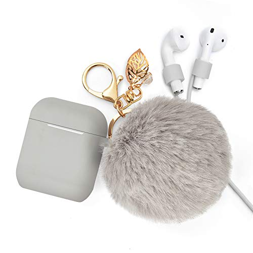 for Airpods Case Keychain, BLUEWIND AirPod Charging Protective Case, Portable Carrying Earpods Case with Strap, Keychain, Soft Fluffy Ball, Compatible with Apple AirPods 1&2 Bluetooth Earphone(Gray)
