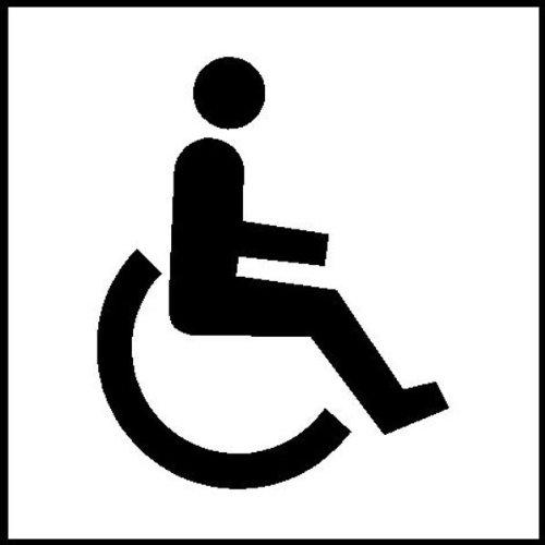 Symboolplaatjes voor kamermarkering, zelfklevend, zelfklevend, Folie 10x10cm Versie: 13 - invaliden toilet