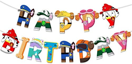 Paw Patro l Banner Happy Birthday Party Supplies Dog Themed Party Decorations for Boys product image
