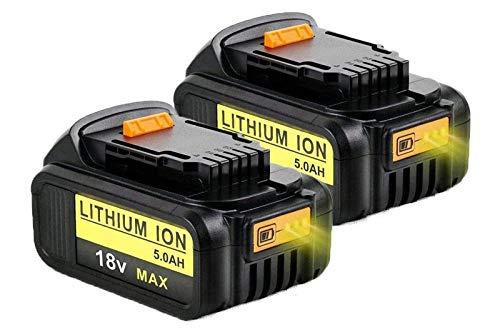 Reoben 2X 18V DCB184 5.0Ah Batería de repuesto para Dewalt XR DCB181 DCB182 DCB183 DCB185 DCB200 DCB200-2 DCB205DCB181-XJ N123283 Taladro inalámbrico