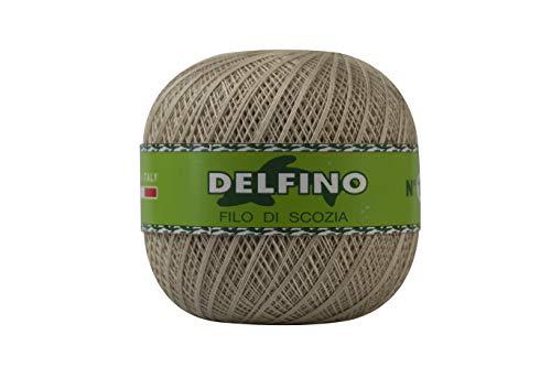 DELFINO Filato Cotone per Uncinetto 100g - Disponibile in più Colori e Spessori - Gomitolo Colore Ecrù (204) - Spessore Numero 3 - da Ricamo 100% Filo di Scozia - 100% Made in Italy