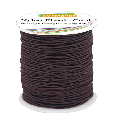EuTengHao 1mm Nylon Elastic Cord for Bracelet Satin Nylon Decorative Cord Nylon Hand Knitting Cord String Beading Thread Bracelet Rope for Necklace Bracelet Jewelry Making (Brown,110Yards/1mm)