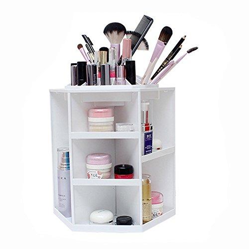 Jecxep trucco Organizzatore grande capacità a 360 ° di rotazione acrilico stoccaggio cosmetici / Revolving trucco dell'organizzatore / Cosmetici Storage Case (bianco)