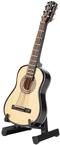 HEEPDD Miniature Guitar, 10cm Mini Wooden Miniature Guitar Model with Guitar Stand Case Model Display Mini Ornaments for Home Office Festival Birthday Gift