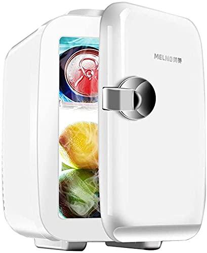 TANKKWEQ Mini frigorífico portátil de 5 litros / 6 latas, Enfriador termoeléctrico portátil de CA / 12V DC y Calentador para automóviles, hogares, oficinas y dormitorios, Blanco cremoso