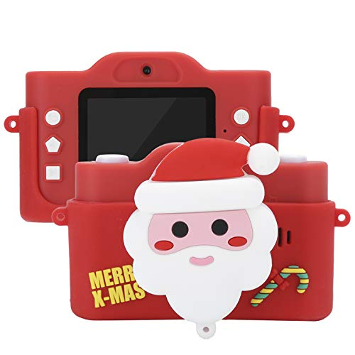 Kids Camera, Santa Claus 40MP 2.0inch IPS Screen Cartoon Digital Camera Video Recorder with Front Rear Dual Camera, for Boys Girls 3-12 Years Old, Red