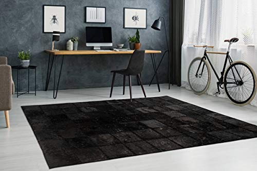 One Couture Leder Patchwork Teppich Fell Teppiche Lederteppich Vernäht Stitches Schwarz Wohnzimmerteppich Esszimmerteppich Teppichläufer Flur-Läufer, Größe:120cm x 170cm