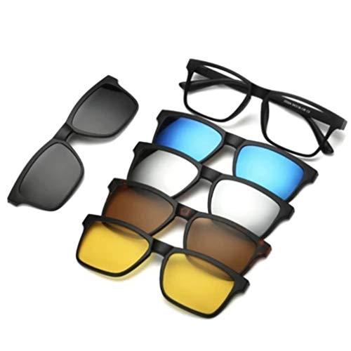 ClookYuan Fünfteilige polarisierte Sonnenbrille mit Magnetclip zum Aufstecken Magnetclips für Brillengläser Set 2202PC Brillengestell - Bunt