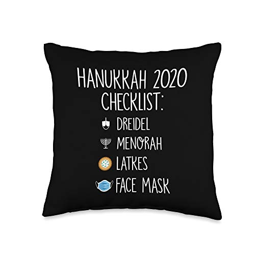 BW Hanukkah Gifts 2020 Checklist Funny Hanukkah Pajamas for Family Throw Pillow, 16x16, Multicolor