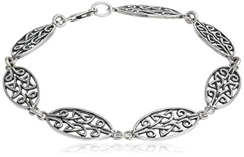 925 Sterling Silver Oxidized Celtic Knot Oval Link Bracelet, 8'