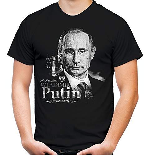 Putin Männer und Herren T-Shirt | Wladimir Russland Moskau | M1 (S, Schwarz)