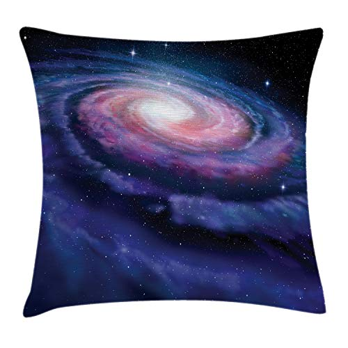 Ambesonne Outer Space Throw Pillow Cushion Cover, Spiral Cosmic Energy with Dark Nebula Cloud Burst Solar System Universe Image, Decorative Square Accent Pillow Case, 18' X 18', Purple Blue