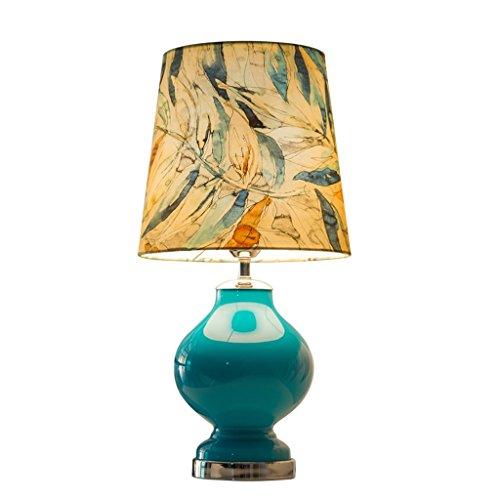 Decoración de muebles Lámparas de mesa Lámpara de mesa de vidrio europea Estampado redondo Pantalla de lona Sala de estar Dormitorio Estudio Restaurante Lámpara de cabecera E27 Lámparas de escritor