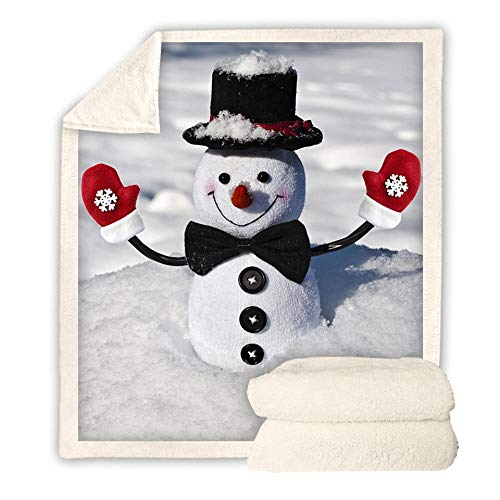 CURTAINSCSR Blanket Christmas Snowman Soft Flannel Printed Blanket 59.05(W) x78.74(H) inch Lightweight Sherpa Throw Blanket for Kids and Adults, Bed, Couch, Camping and Travel