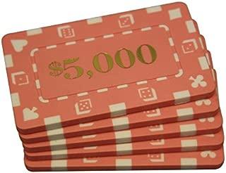 MRC 5 Pcs Denominated Rectangular Poker Chips Plaques $5000 Pink