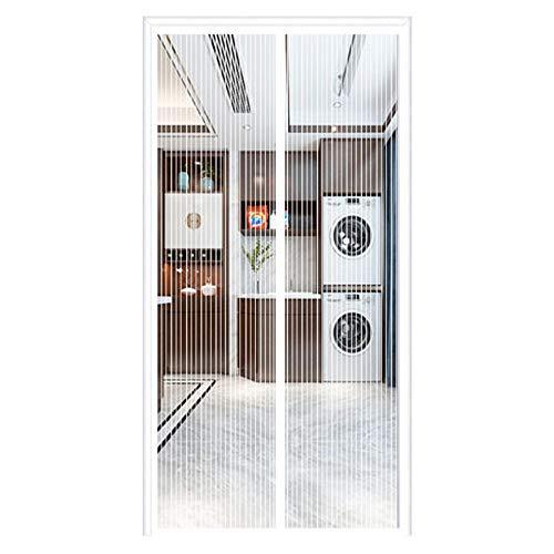 Mosquitera Puerta Magnetica Cortina, Puerta de Pantalla Magnética Cierre Automático, Fácil de Ensamblar, para Sala de Estar Balcón Patio, Blanco, (29x27inch)75x70cm