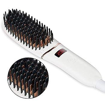Mini Hair Straightener Brush Veru ETERNITY Beard Straightener for Women with LED Display and MCH Heating Function,Ionic Ceramic Anti Static Detangling and Silky Heated hair Comb,White