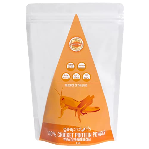 GEEPROTEIN Cricket Protein Powder   100% Pure Cricket Powder (0.5lbs), Alternative Eat For Chocolate, Dairy-Free, Gluten-Free, High Protein Food for Humans, Thai-Farmed 100% Pure Cricket Powders