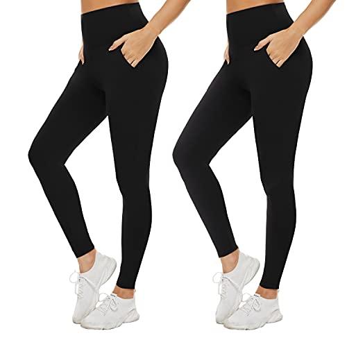 iaoja Pack de 2 pantalones de yoga con bolsillos para mujer - Leggings de entrenamiento para mujer, no transparentes de cintura alta con control de barriga, Negro / Negro (A-Black/Black), S-M