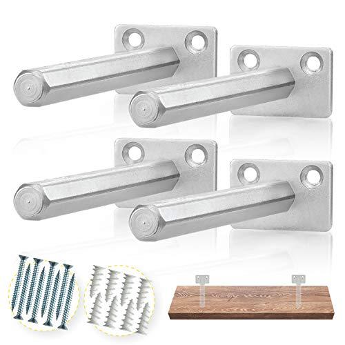 BATODA Floating Shelf Bracket (4 pcs Galvanized Steel) - Blind Shelf Supports - Hidden Brackets for Floating Wood Shelves - Concealed Blind shelf Support  Screws and Wall plugs Included