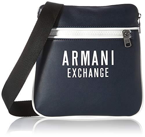 A X Armani Exchange - Bolso cruzado plano de piel ecológica para hombre - azul - talla única