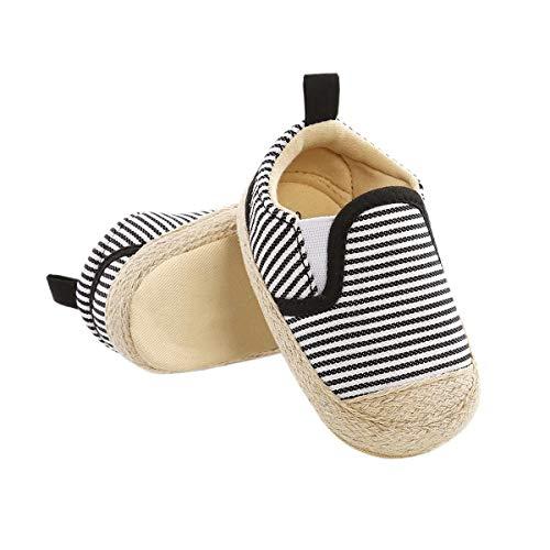 DEBAIJIA Bambino Scarpe Espadrillas 12-18M Suola Morbida Ragazzo Tela Sneaker Infantile Antiscivolo Traspirante 20 EU Nero Bianco (12-18)