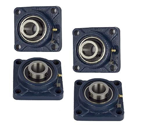 Jeremywell 4 Pieces- UCF201-8 Pillow Block Bearing 1/2 inch Size Bore, 4-Bolt Flange, Solid Base, Self-Alignment