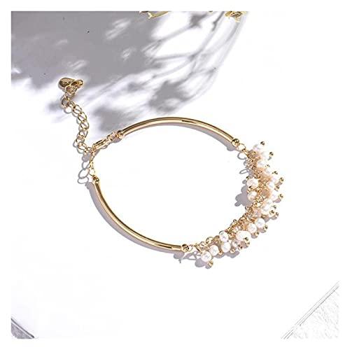 LYNLYN Pulseras Pulsera de cumpleaños Pulsera Femenina de Regalo de cumpleaños Adecuado para la Pulsera de la joyería de diseño Gypsophila Pearl Bracelet (Color : Pearl Pendant bracel)