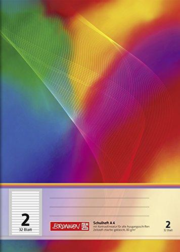 Brunnen 104438202 Schulheft A4 (32 Blatt, liniert, Lineatur 2, Klasse 2)