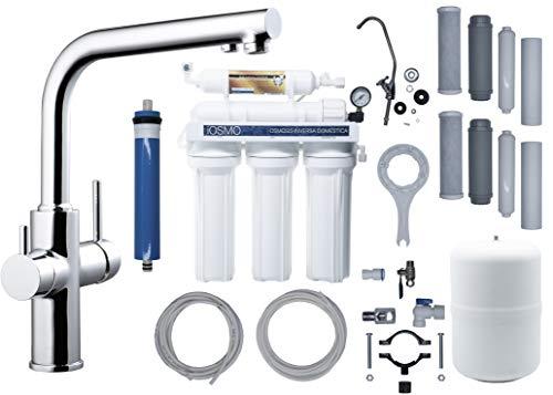 Equipo de Ósmosis Inversa Domestica iOSMO + Clever CAIMÁN (Grifo de Fregadero y Ósmosis Integrados) | Ósmosis + 2 Recambio Filtros | Filtro-Membrana Universales