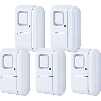 GE Personal Security Window/Door Alarm 5-Pack DIY Home Protection Burglar Alert Magnetic Sensor Off/Chime/Alarm Easy Installation Ideal for Home Garage Apartment Dorm RV and Office 45987