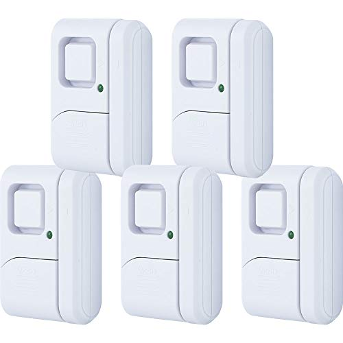 GE Personal Security Window/Door Alarm, 5-Pack, DIY Home Protection, Burglar Alert, Magnetic Sensor, Off/Chime/Alarm, Easy Installation, Ideal for Home, Garage, Apartment, Dorm, RV and Office, 45987