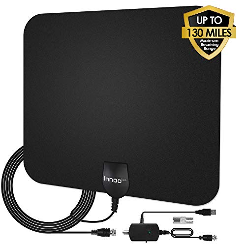 TV Antenna - HDTV Antenna Support 4K 1080P, New Version 80-130 Miles Range Digital Antenna for HDTV, VHF UHF Freeview Channels Antenna with Amplifier Signal Booster, 16.5 Ft Longer Coaxial Cable