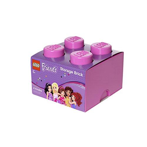 LEGO Ladrillo de Almacenamiento de 4 espigas Friends, Caja de almacenaje apilable, 5,7 l, Rosa, Tilo, One Size
