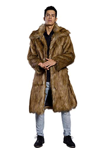 Old DIrd Men's Long Sleeve Fluffy Faux Fur Warm Coat Outerwear N02 Gold XXXL