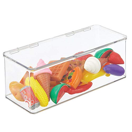 mDesign Organizador de juguetes – Juguetero grande con tapa de plástico robusto – Caja organizadora apilable para guardar juguetes y manualidades – 14,6 x 34,0 x 12,7 cm – transparente