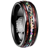NUNCAD Tungsten Ring Koa Wood Inlay Tungsten for Men Women Sets High Polished Finish Comfort Fit Wedding Band Size 7