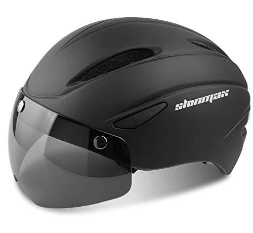 Shinmax Bike Helmet, Bicycle Helmet Men Women with Detachable Magnetic Goggles & Portable Bag Adjustable for Adult Road/Biking/Mountain Cycling Helmet Bc-001