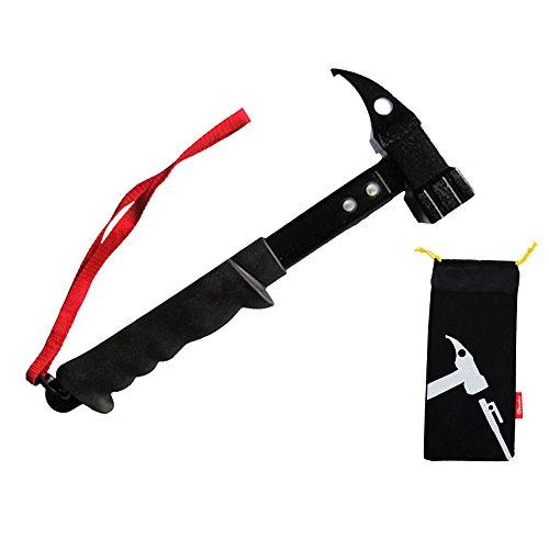NUZAMAS Hammer für Zeltheringe, Zeltheringe, schwarz, 32 cm, rutschfester Kopf, mit Haltegurt und Tasche