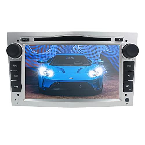 Doble DIN Car Stereo Wi-Fi Car Multimedia System con Android 10 OS Pantalla táctil de 7 Pulgadas SWC DVR RDS para Opel Antara/Corsa C/Zafira Soporte Bluetooth Radio (Plata)