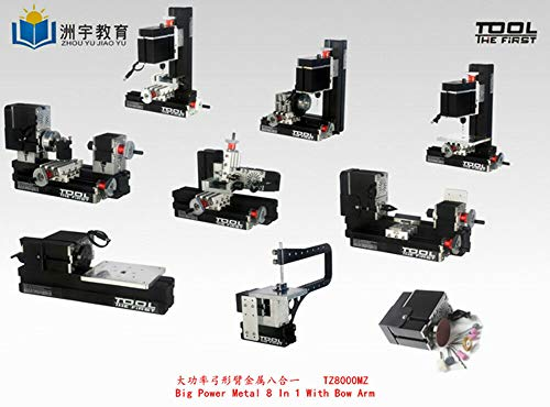 Review ZHOUYU 60W High Power 8 In 1 Mini Metal Machine With Bow Arm DIY Woodworking Model Tool Hobby...