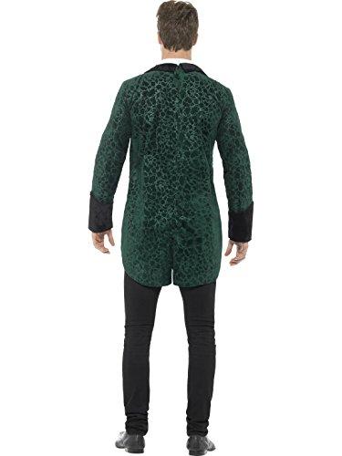 SMIFFYS Costume deluxe vampiro vittoriano, Verde, con giacca, camicia stampata e spilla