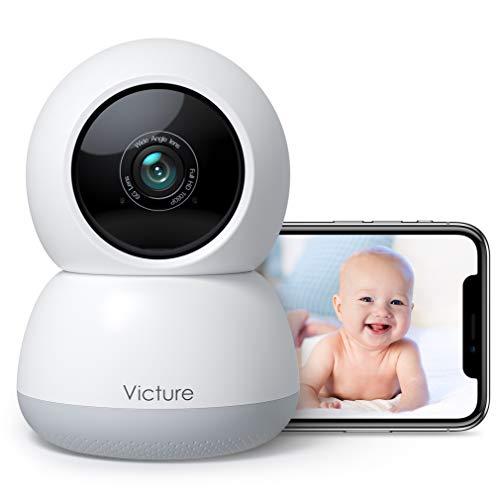 2021 Nueva Versión Victure1080P Cámara Vigilancia Bebé 2.4G Cámara Wifi Interior, Vigilabebés con Cámara con Detección de Seguimiento de Sonido y Movimiento, la Visión Nocturna se puede usar con Alexa
