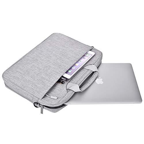 MOSISO Umhängetasche/Laptoptasche Kompatibel mit 15-15,6 Zoll MacBook Pro, Ultrabook Netbook Tablet, Polyester Schultertasche mit Verstellbarer Tiefe an der Unterseite, Hellgrau - 4