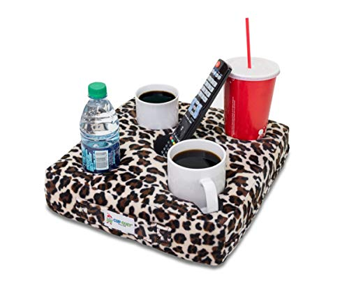 Cup Cozy Deluxe Pillow (Cheetah) As Seen on TV -The world's BEST cup holder! Keep your drinks close and prevent spills. Use it anywhere-Couch, floor, bed, man cave, car, RV, park, beach and more!