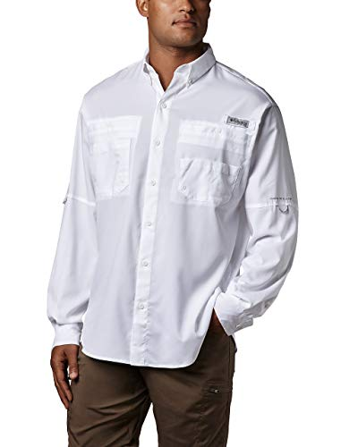 Columbia Men's Plus Tamiami II Long Sleeve Shirt, White - Large