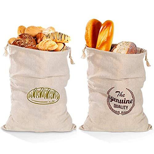 Brotbeutel Leinen 2er Set, Wiederverwendbarer Brotsack aus 100% Natur Leinen, Plastikfrei Einkaufen Umweltfreundliche Einkaufstasche Brötchenbeutel mit Kordelzug, 30 x 40 cm